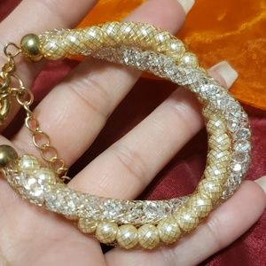 Crystal Mesh, Gold Tone and Faux Pearl bracelet ❤❤